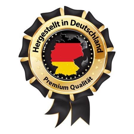 German product - shiny badge for web with German text. Text translation: Made in Germany. Premium Quality. Maps and the colors of the national flag of Germany are included.