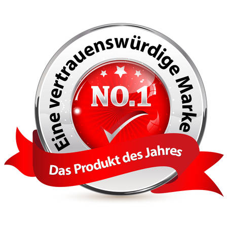 Red and silver shiny badge for web with German text. Text translation: Trusted brand. Product of the year.