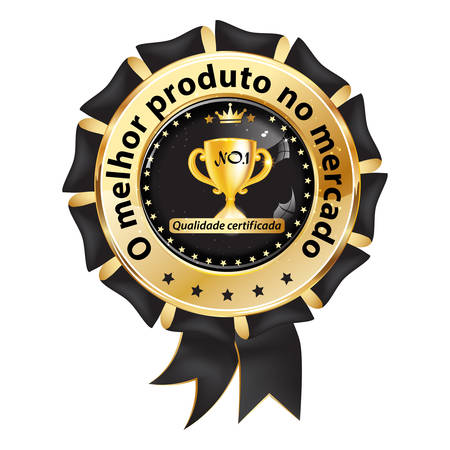Black and golden award badge designed for the Portuguese and Brazilian retail market. Text translation: Best product on the market. Quality certificated.