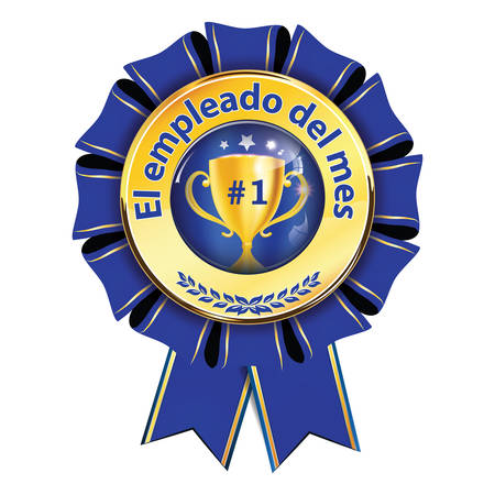 Employee of the month - blue and golden badge with text written in Spanish, designed for companies
