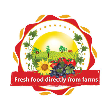Fresh food directly from farms - Printable sticker  label  stamp with fruits and vegetables: grapes, tomatoes, sunflower. Print colors used
