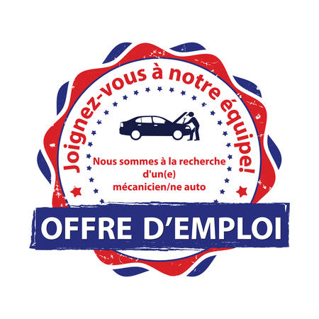 Printable stamp designed for the French work market. Text translation: Job offer. We are looking for / we are hiring an auto mechanic. Join our team. Illustration
