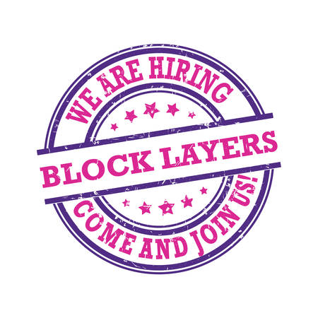 We are hiring block layers - come and join us! purple stamp / label for print designed for recruitment agencies / human resources companies that are looking for construction / demolition / building workers