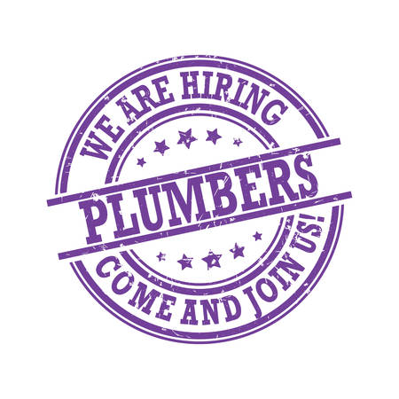We are hiring plumbers - purple stamp / label for print designed for recruitment agencies / human resources companies that are looking for construction / demolition / building workers