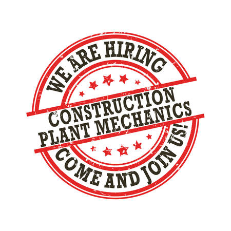 We are hiring Construction Plant Mechanics. Come and join us. Printable sticker / label designed for recruitment agencies. Vettoriali
