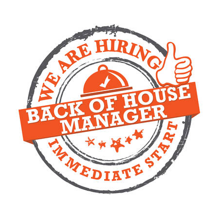 We are hiring back of the house manager - printable sticker for designed for companies that are recruiting people to work in the hospitality industry