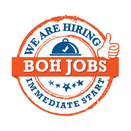BOH jobs available - printable sticker for designed for companies that are recruiting people to work in the hospitality industry