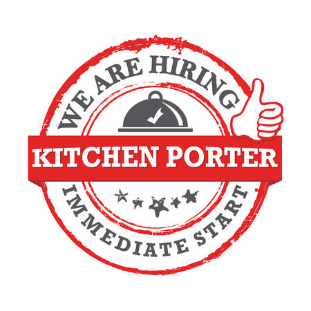 We are hiring kitchen porter - printable sticker for designed for companies that are recruiting people to work in the hospitality industry