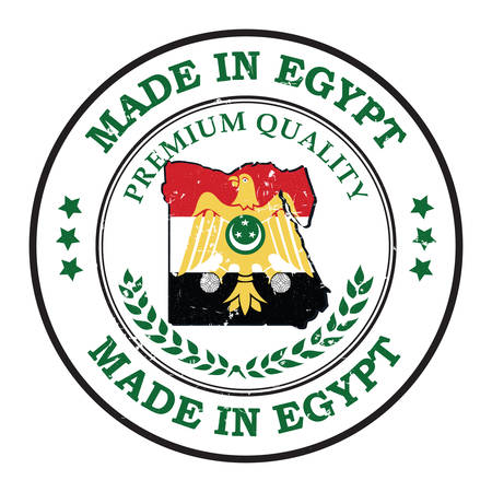 Made in Egypt, Premium Quality - grunge business stamp with the flag of Egypt. Print colors used
