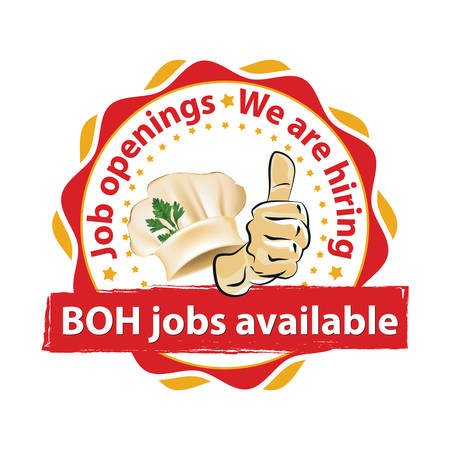 Job openings. We are hiring. BOH jobs available. Red and orange printable sticker designed for companies that are recruiting people to work in the hospitality industry