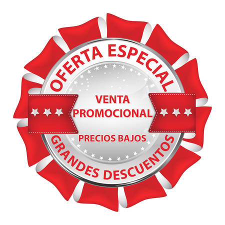 Red and white button designed for the Spanish-speaking companies. Text translation: Special offer. Big discounts. Promotional sale. Low prices.