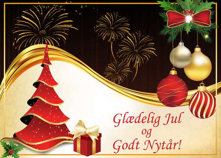 Danish greeting card for the New Year 2019 celebration. Text translation: Merry Christmas and a Happy New Year! The card's design includes Christmas baubles and bright fireworks on a dark  background