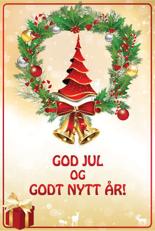 Norwegian greeting card designed for the winter holidays season. Text translation: Merry Christmas and Happy New Year. The image contains a Christmas tree, and some specific decorations (a wreath)