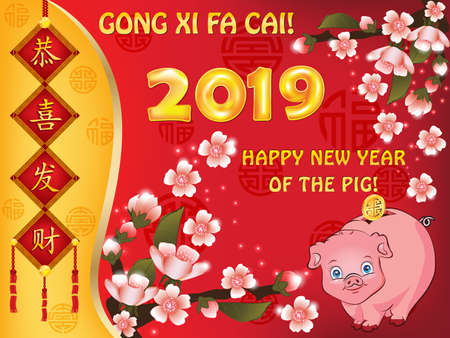 Happy New Year of the earth Pig 2019  - red greeting card with text in Chinese and English. Ideograms translation: congratulations and get rich! In the bottom right corner: Year of the Pig!