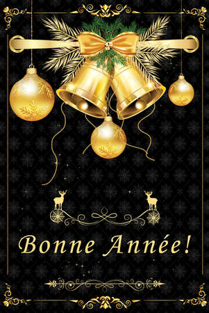 French greeting card with classic design. Text translation: Happy New Year!