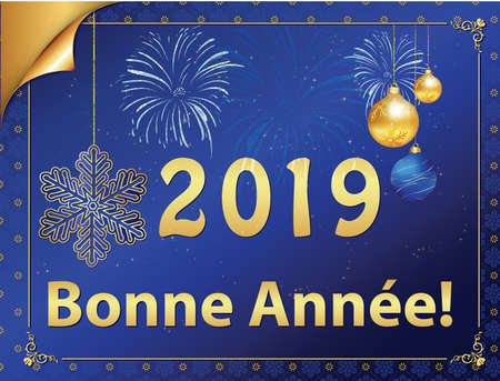 Corporate greeting card with blue background, designed for the 2019 New Year celebration.  The message is written in French