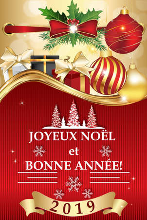 Classic greeting card with red and golden background, designed for the 2019 New Year celebration.  The message is written in French