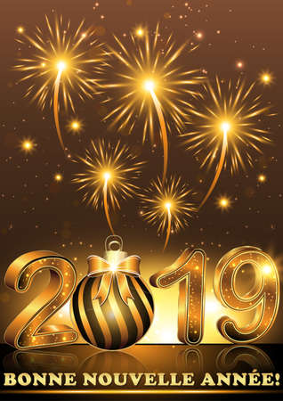 Simple, elegant greeting card with fireworks on a brown background. The message (Happy New Year 2019) is written in French Banque d'images