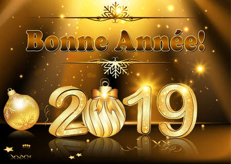 French New Year greeting card with brown background.