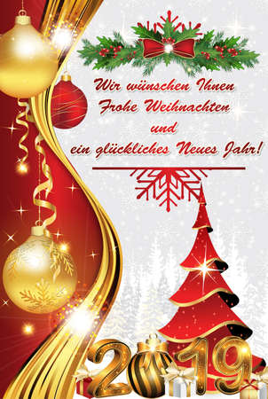 Red and white New Year greeting card with classical design. The message is written in German Banque d'images