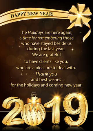 Thank you / Happy New Year greeting card with corporate message Banque d'images - 117887571