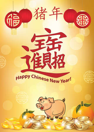 Happy Chinese New Year 2019 greeting card. Ideograms translation: The big symbol: Blessings / prosperity / good fortune. Year of the Pig. On the paper lanterns: Happiness and prosperity.