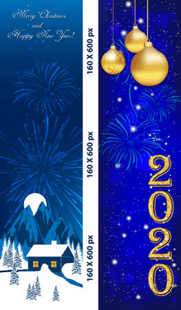 Two vertical banners designed for the New Year 2020 celebration. Web colours used. Banque d'images