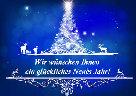 Elegant greeting card for print with classic design - a stylized Christmas tree on a light blue background. The message is written in German: We wish you a Merry Christmas and a Happy New Year! Banque d'images - 132685730