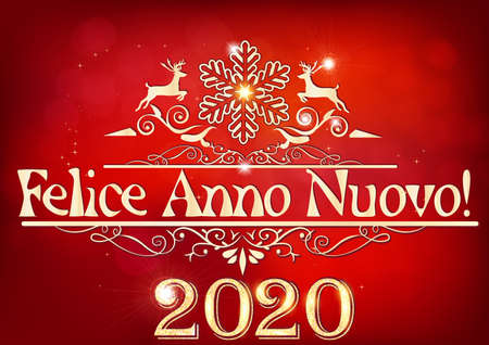 Happy New Year 2020! written in Italian. Greeting card for print, with an elegant classic design- shiny golden text and decorative elements on a light red background.