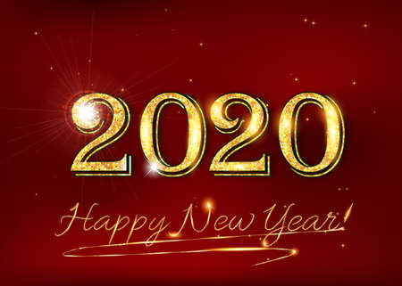 Happy New Year 2020! Greeting card for print, with elegant classic design - shiny text on a red background.