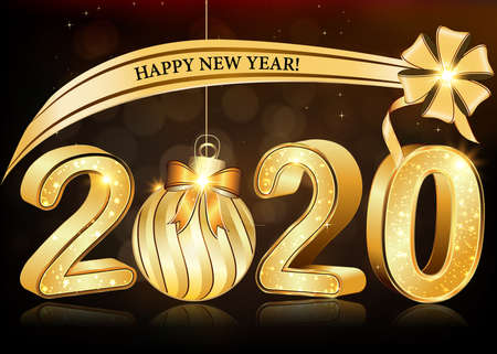Happy New Year 2020! Greeting card with 3d text. Print colours used. Banque d'images - 132680598