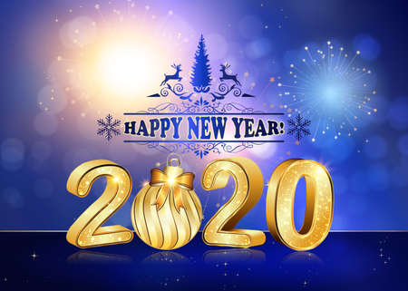 Happy New Year 2020! Greeting card for print, with 3D text. Classic blue abstract background with fireworks and shiny stars.
