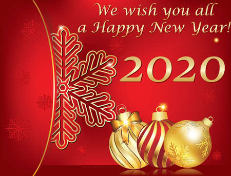 We wish you a Happy New Year 2020! Greeting card for print, with classic design - Christmas baubles and a stylized snowflake on a red background.