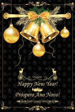 Greeting card with message in English and Portuguese - Happy New Year. Banque d'images