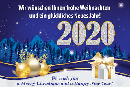 Blue and silver greeting card for the New Year 2020 celebration with German text. Text translation: We wish you a Merry Christmas and a Happy New Year. Banque d'images
