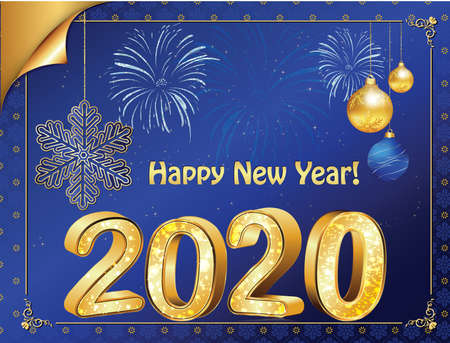 Happy New Year 2020! vintage greeting card with blue background. Banque d'images