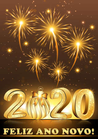 Greeting card with Portuguese text. Text translation: Happy New year 2020.