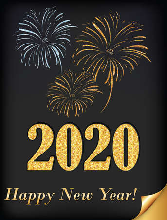 Happy New Year 2020 - vintage greeting card with stylized fireworks on a dark background.
