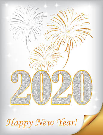 Happy New Year 2020 - vintage greeting card with stylized fireworks on a silver / white background.