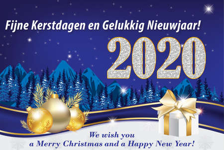 New Year greeting card with text in English and Dutch, with classic design: a winter landscape mountains, a fir forest, snow plus some Christmas decorative elements a presents box, Christmas baubles, golden fir branches on a light blue background. Banque d'images