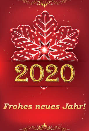 Red greeting card with German text for the New Year 2020 celebration.