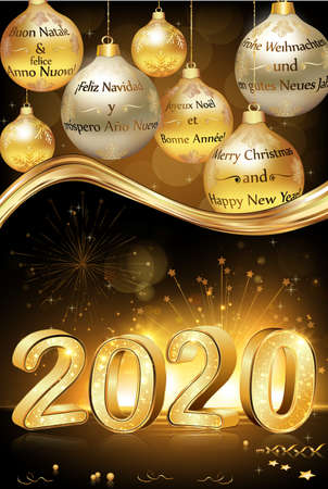 Merry Christmas and Happy New Year 2020 written in many languages English, French, Spanish, German, Italian and Dutch. Greeting card for the winter holidays season.