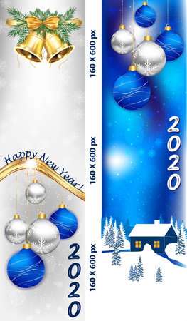 Banner set for Christmas and New Year 2020 with Christmas baubles, winter landscape, fireworks. Banner size: 160x600 pixels skyscraper. Light blue background, white / silver background Banque d'images