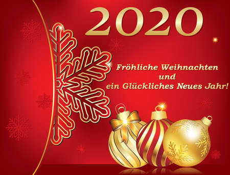 Merry Christmas and a Happy New Year 2020, red greeting card with text written in German, designed for the winter holidays celebration with bright snowflakes and jingle bells on a light red background