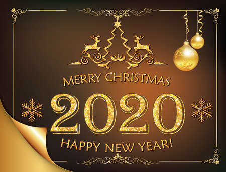 Happy New Year 2020 - classic greeting card with golden text and decorations baubles, stylized reindeer, a stylized Christmas tree, snowflakes on a brown background
