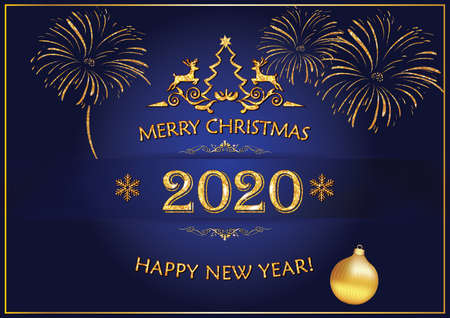 Christmas and New Year 2020 greeting card with elegant, simple design - golden text and decorations (stylized fireworks, Christmas tree, snowflakes, reindeer) on a blue background. Banque d'images