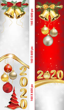 Banner set for Christmas and New Year 2020 with Christmas baubles, winter landscape, fireworks. Banner size: 160x600 pixels skyscraper. Red and silver background Banque d'images