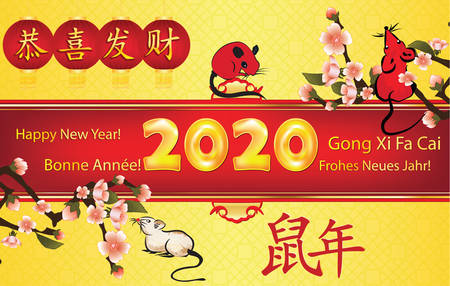 Happy Chinese New Year of the Rat 2020! - greeting card with text in many languages (English, French, German and Chinese). Ideograms translation: Congratulations and get rich. Year of the Rat.