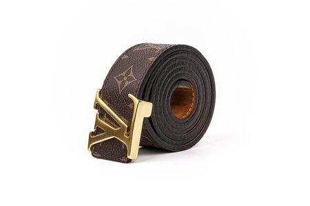 ladies patterned leather belt, studio shot, white background