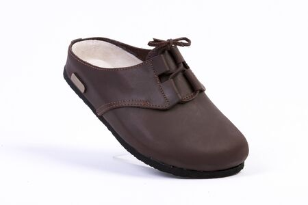 leather orthopedic slippers, studio shoot, white background